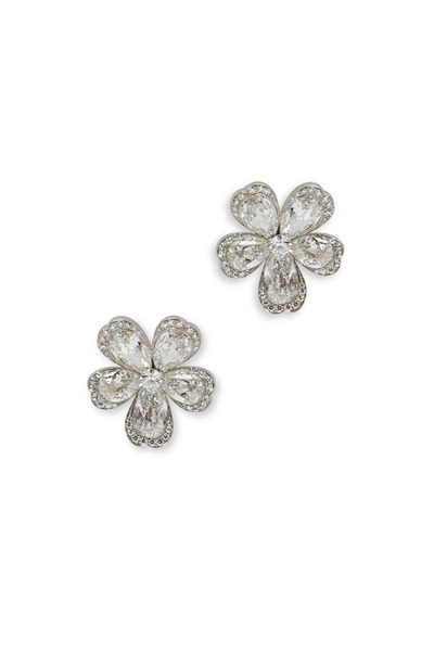 Eclat - Platinum Diamond Flower Earrings