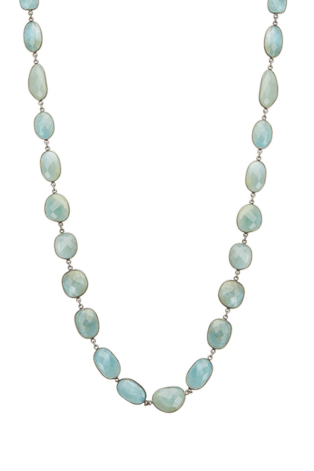Sterling Silver Large Milky Aqua Necklace