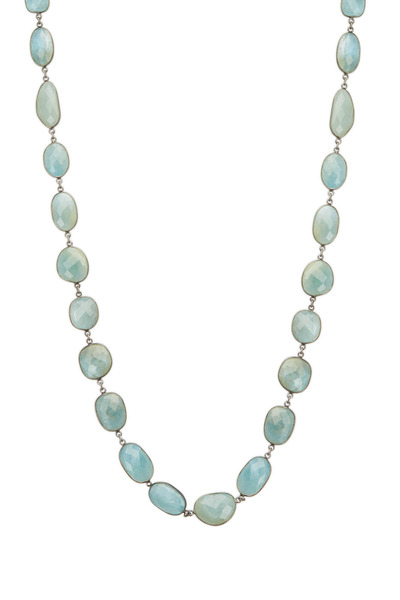 Loriann - Sterling Silver Large Milky Aqua Necklace