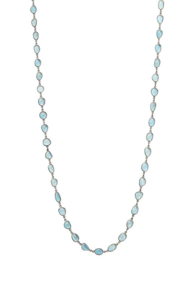 Silver London Blue Topaz Accessory Chain Necklace