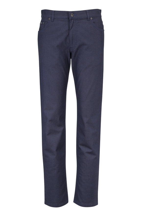 Brax Cooper Navy Blue Sueded Stretch Pima Cotton Pant