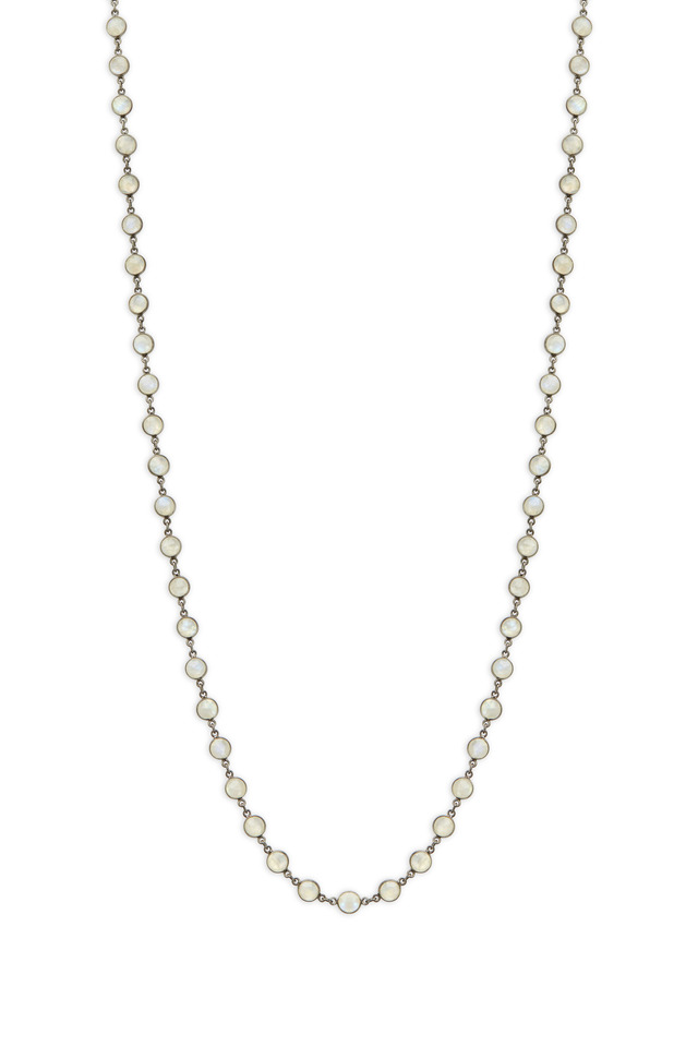 Silver Small Moonstone Accessory Chain Necklace