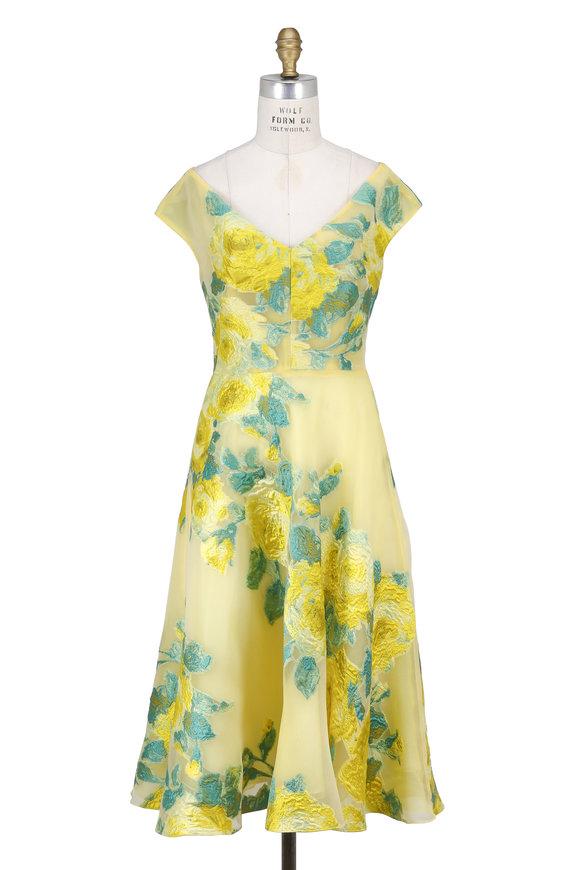 Lela Rose Citrine Floral Fil Coupe Open V-Neck Dress