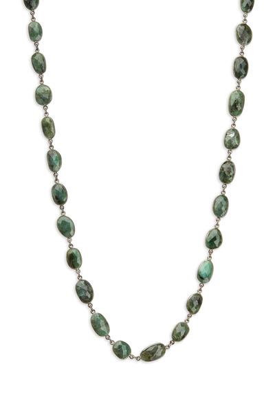 Loriann - Silver Green Emerald Accessory Chain Necklace