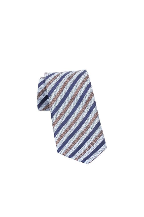 Ermenegildo Zegna Blue & Brown Striped Silk Necktie