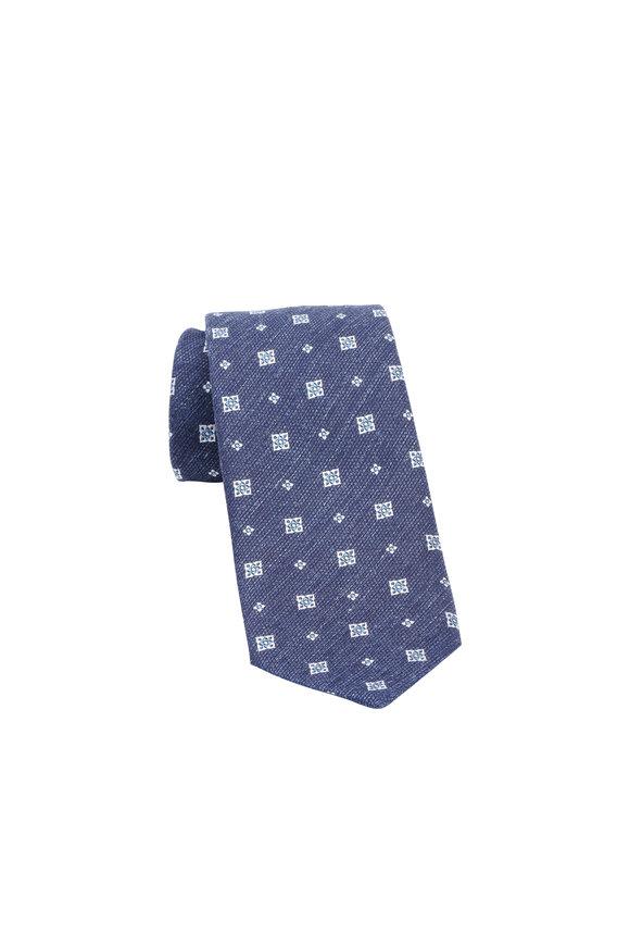 Ermenegildo Zegna Blue Geometric Print Silk & Linen Necktie