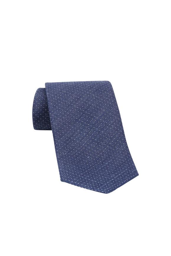 Ermenegildo Zegna Navy Blue Dot Linen & Silk Necktie