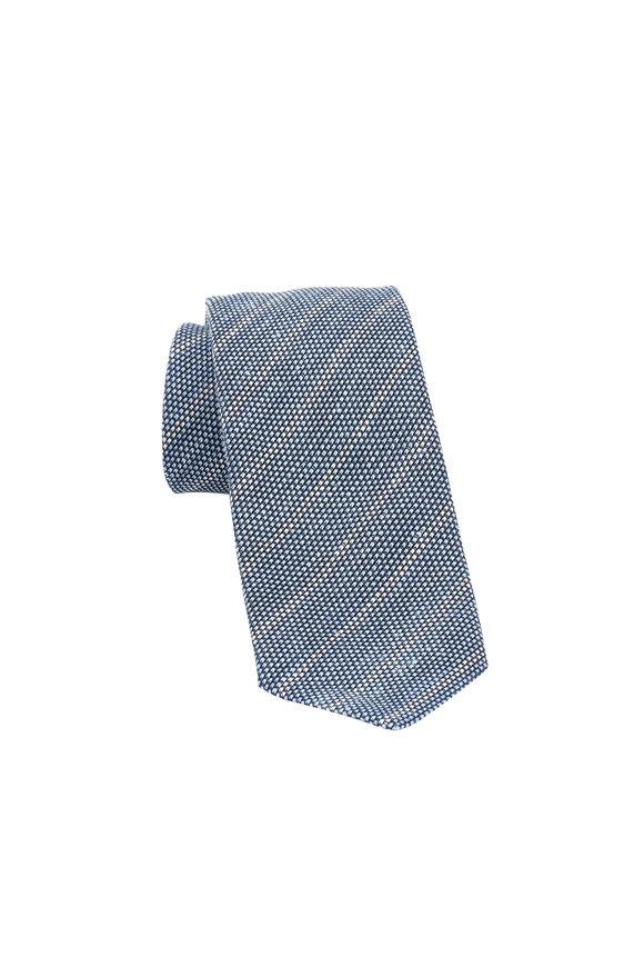 Ermenegildo Zegna Blue Tonal Striped Linen & Silk Necktie