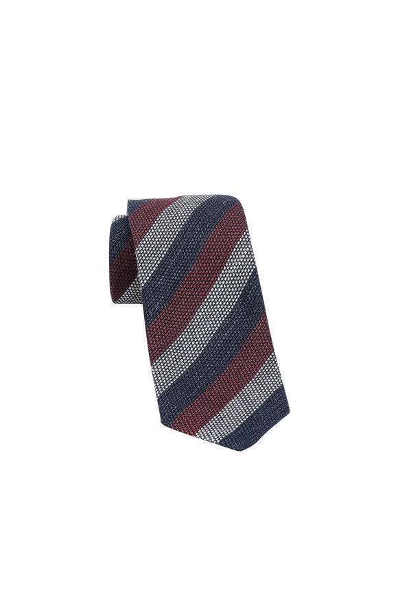 Ermenegildo Zegna Burgundy & Gray Striped Linen & Silk Necktie