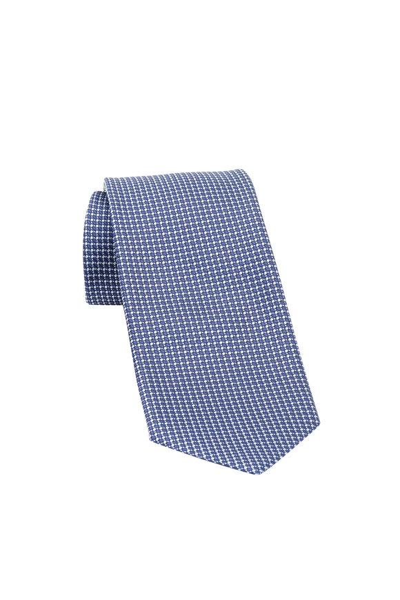 Ermenegildo Zegna Navy Blue Dot Silk Necktie