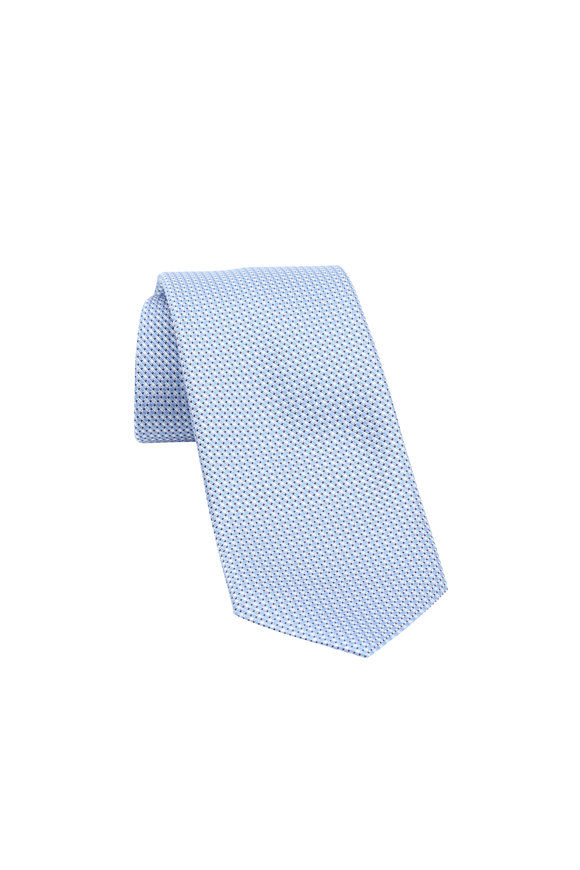 Ermenegildo Zegna Light Blue Neat Pattern Silk Necktie