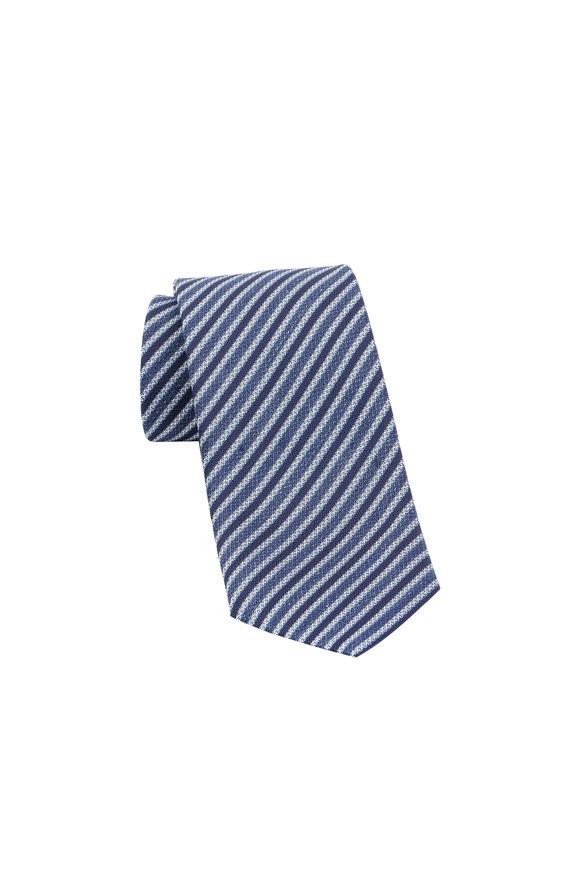 Ermenegildo Zegna Navy Blue Striped Silk & Linen Necktie