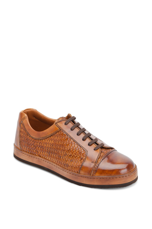 Bontoni Sportivo Cognac Woven Leather Lace-Up Sneaker