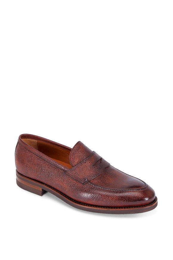 Bontoni Principe Brown Grained Leather Penny Loafer