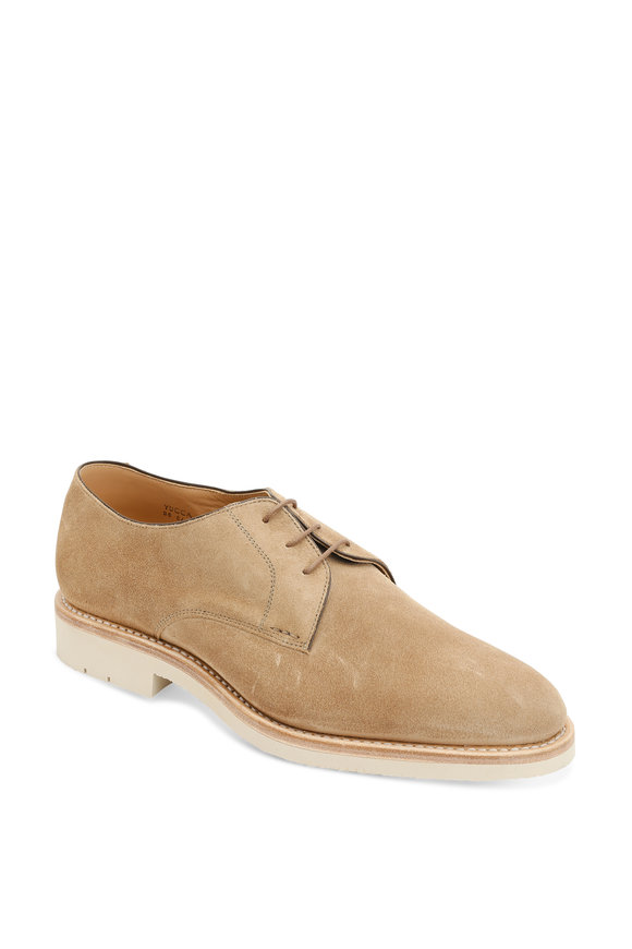 Heschung Hevea Light Brown Suede Derby Shoe