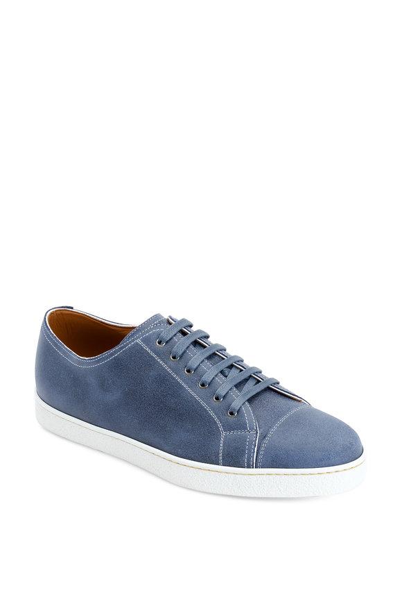 John Lobb Levah Blue Suede Low-Top Sneaker