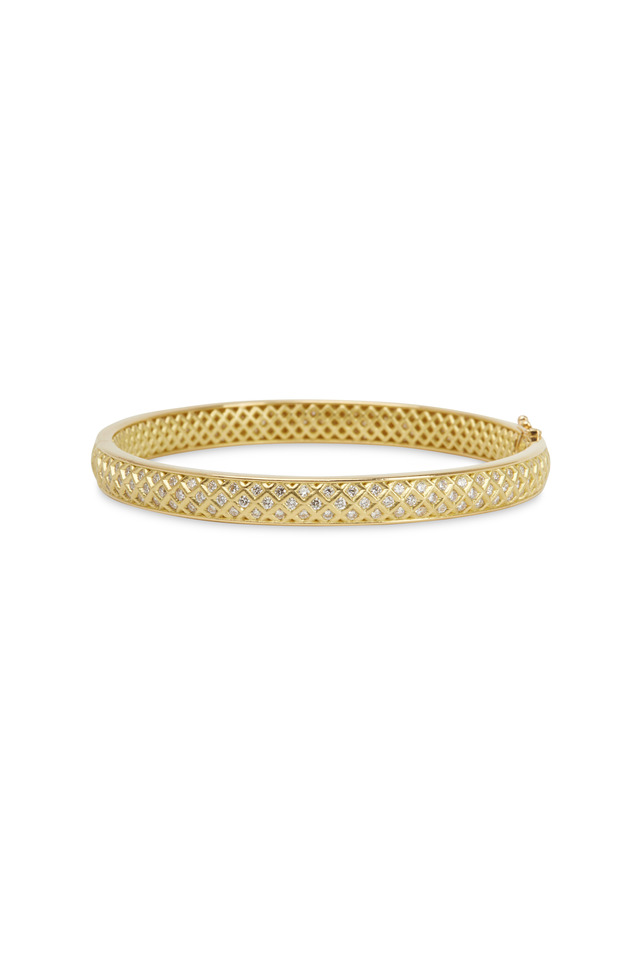 Gold Spiral Mesh Diamond Bangle Bracelet