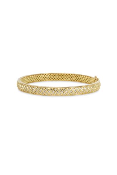Paul Morelli - Gold Spiral Mesh Diamond Bangle Bracelet