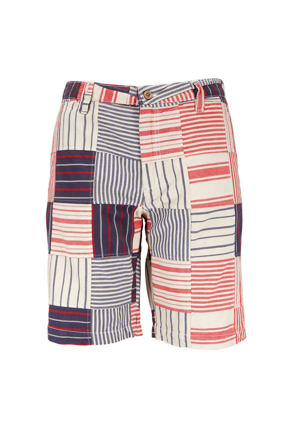 Tailor Vintage Clambake Red, White & Blue Patchwork Shorts