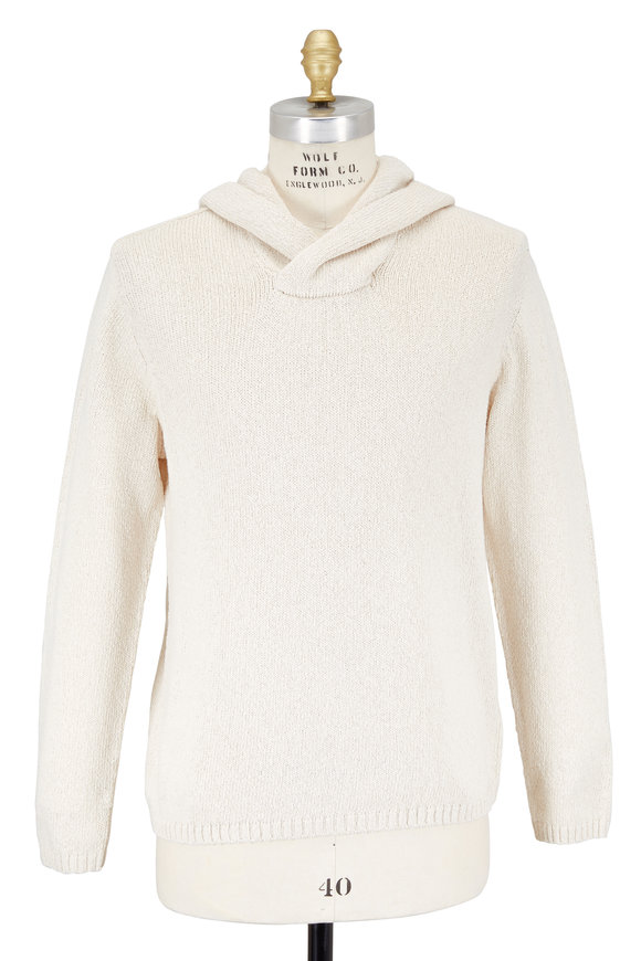 Vince Ivory Textured Cotton Hoodie