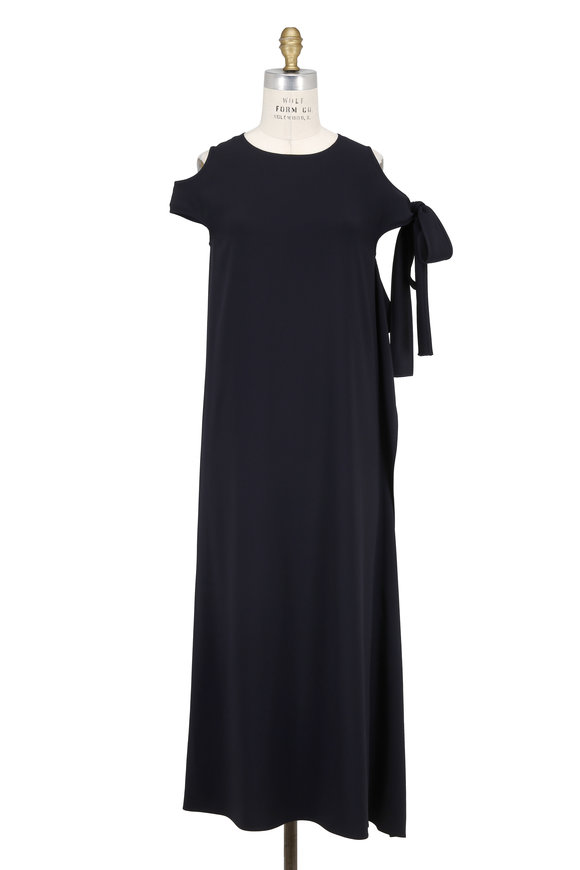 Helmut Lang Navy Blue Crêpe Cut-Out Shoulder Dress
