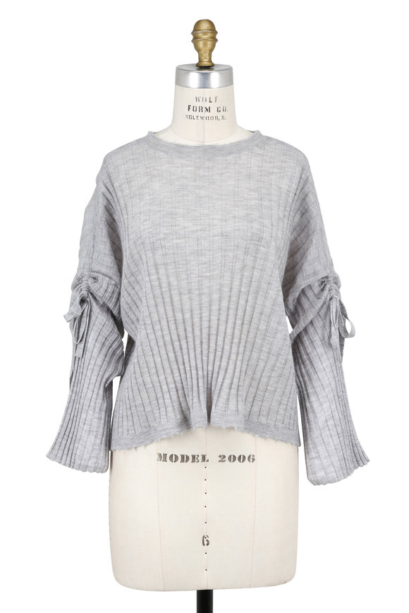 Helmut Lang Stone Ribbed Cashmere Drawstring Sleeve Sweater