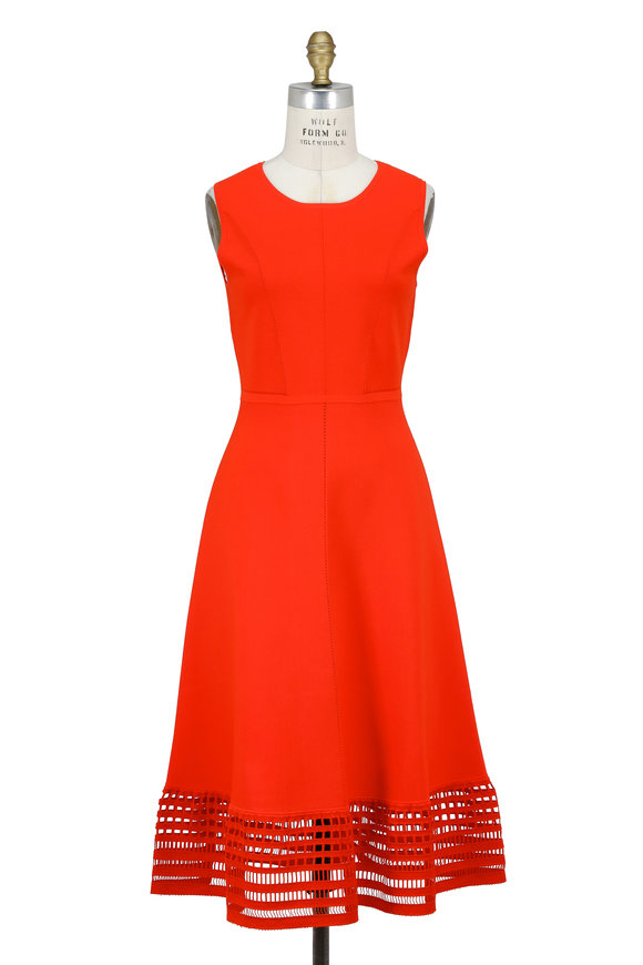 Lela Rose Coral Knit Windowpane Hem Sleeveless Dress