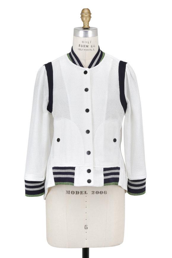 Veronica Beard Smith Off-White Open Weave Lurex Rib Trim Jacket
