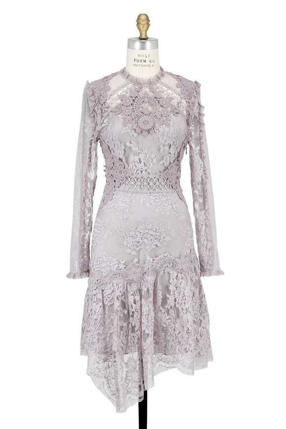 Zimmermann Lilac Stranded Lace & Appliqué Long Sleeve Dress