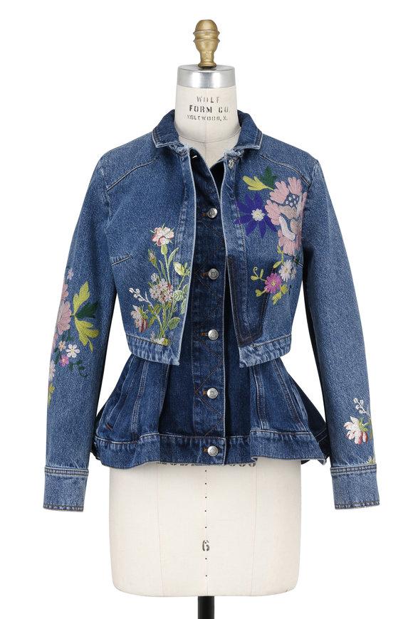 Alexander McQueen Floral Embroidered Layered Peplum Denim Jacket