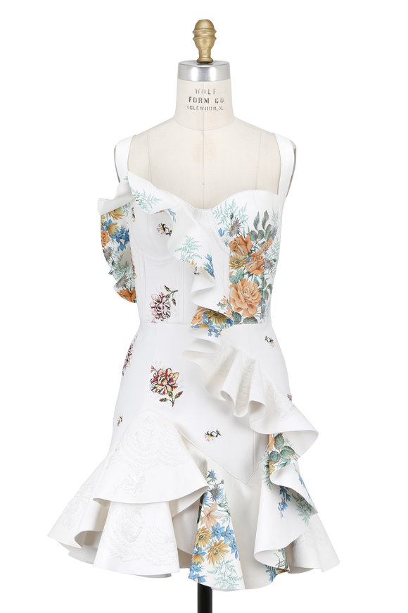 Alexander McQueen White Floral Hand-Painted & Embroidered Dress