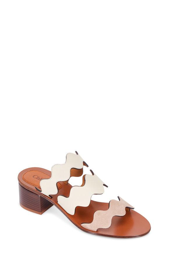 Chloé Lauren Nude Scalloped Three-Strap Sandal, 40mm