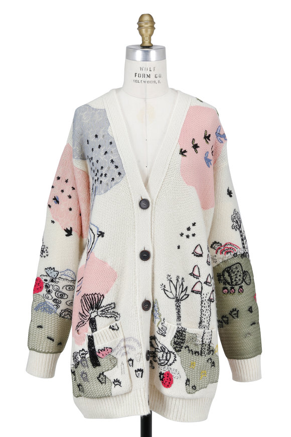 Valentino Garden Of Delight Ivory Hand-Embroidered Cardigan