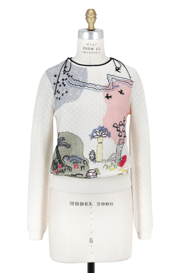 Valentino Garden Of Delight Ivory Hand-Embroidered Sweater