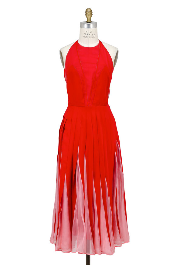 Valentino Red & Pink Georgette Pleated Contrast-Inset Dress
