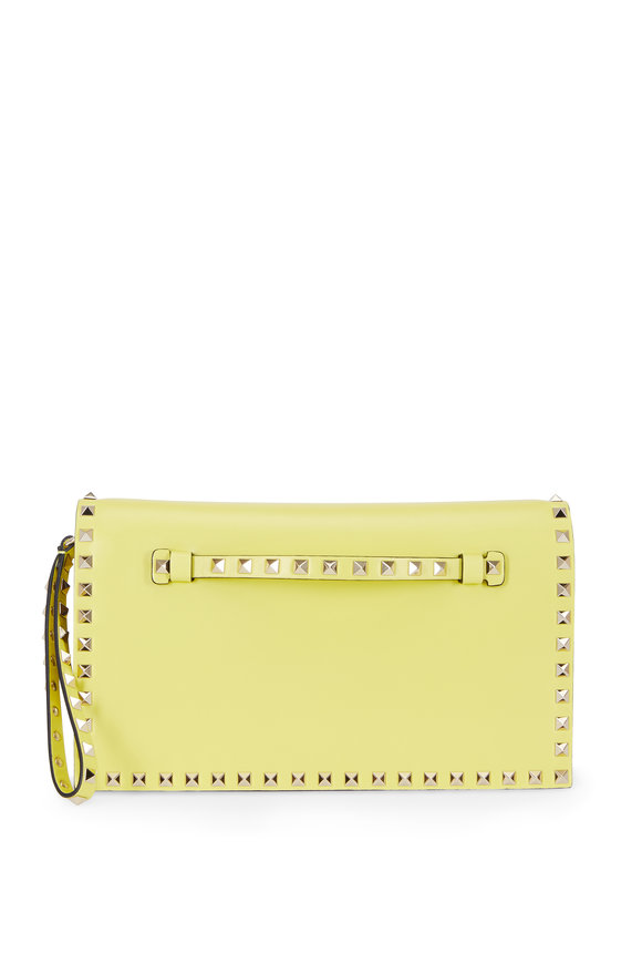 Valentino Rockstud Acid Yellow Leather Clutch