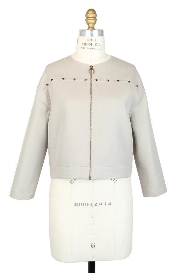 Agnona Beige Cabochon Stud Boxy Jacket