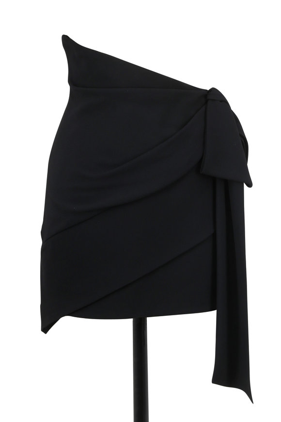 Saint Laurent Black Crêpe Ruched Asymmetric Mini Skirt