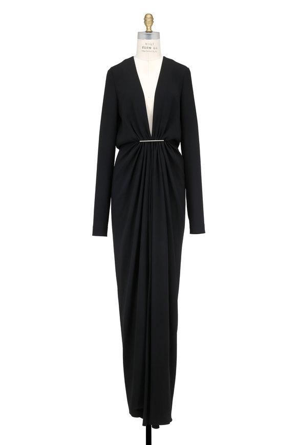 Saint Laurent Black Crêpe Deep Plunging Neck Long Sleeve Gown