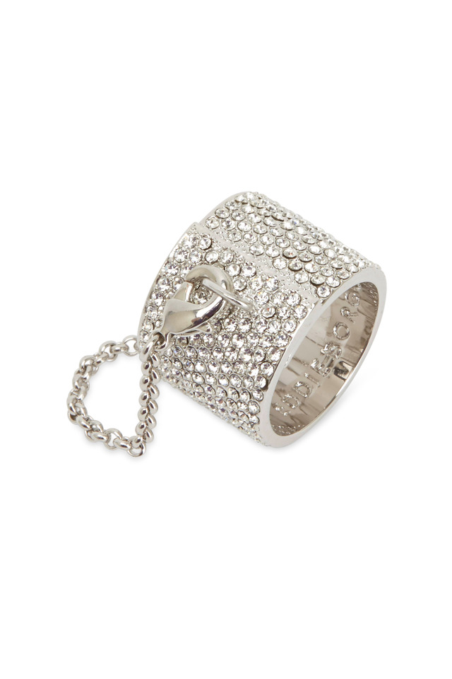 Silver Plate Pavé-Set Crystal Ring