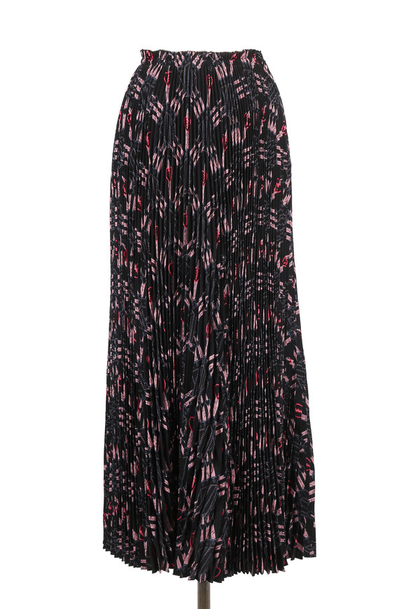 Valentino Love Blades Black & Pink Silk Pleated Midi Skirt