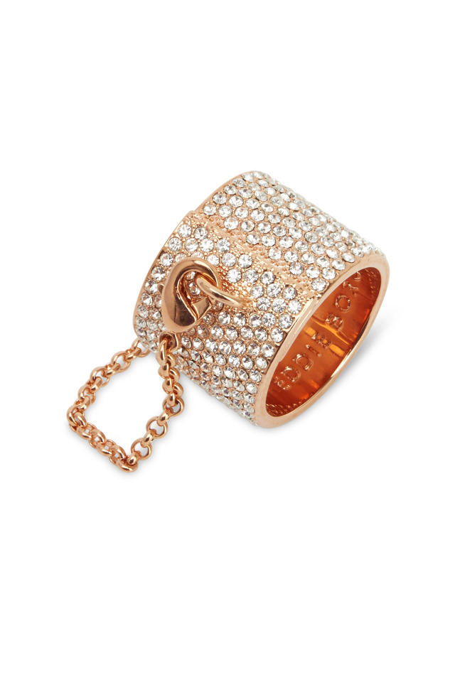Rose Gold Pavé-Set Crystal Ring