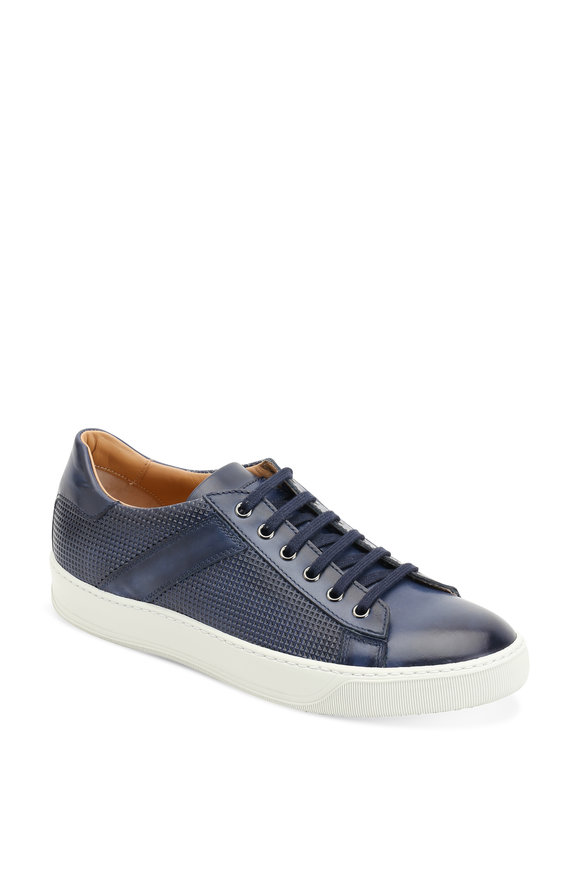 Santoni Aztec Navy Blue Perforated Leather Sneaker