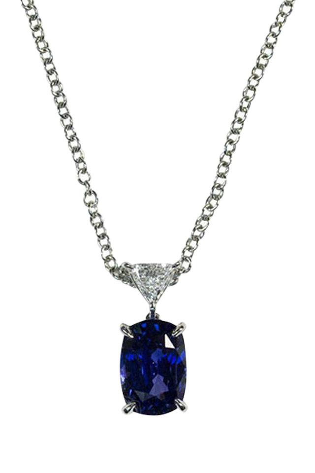 Platinum Blue Sapphire Diamond Pendant