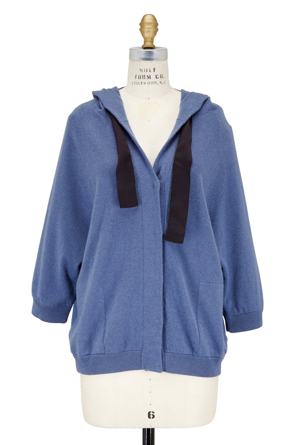Brunello Cucinelli Medium Blue Cashmere Drawstring Hooded Cardigan