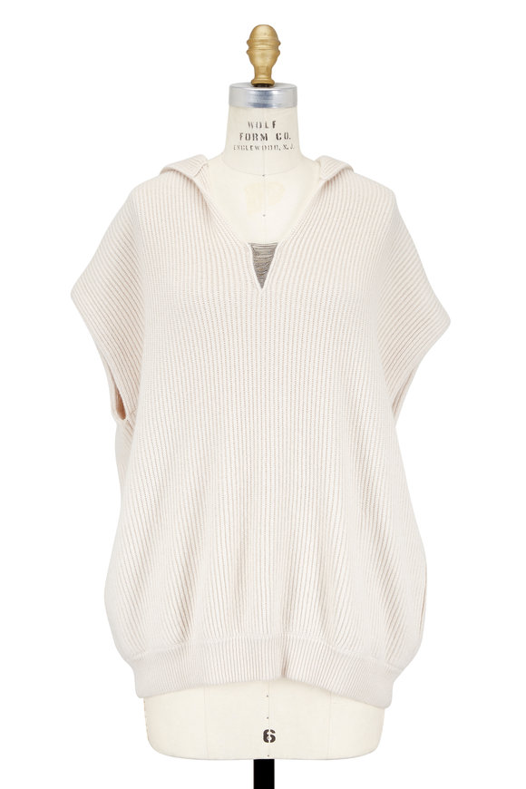 Brunello Cucinelli Latte Ribbed Cashmere Cap Sleeve Hooded Sweater