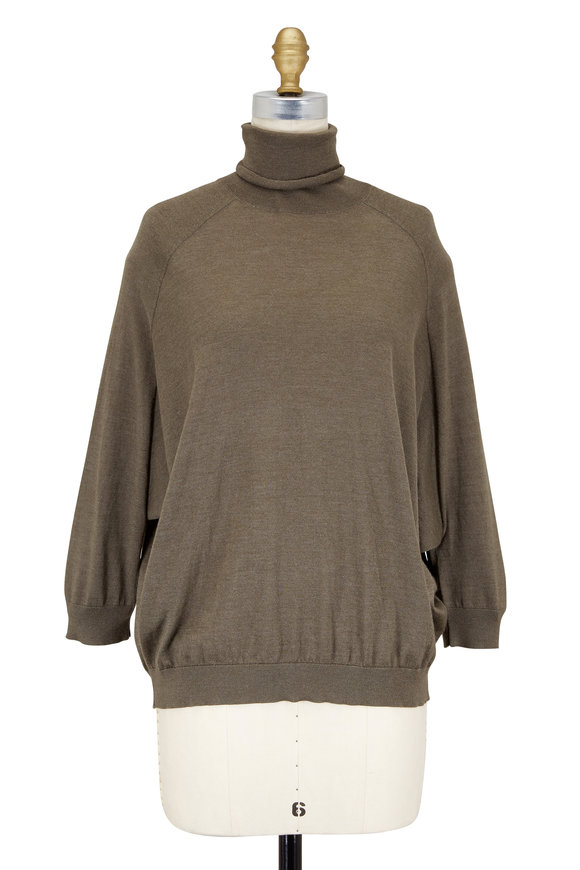 Brunello Cucinelli Military Cashmere Dolman Sleeve Turtleneck Sweater
