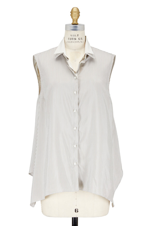 Brunello Cucinelli White & Military Striped Layered Sleeveless Blouse