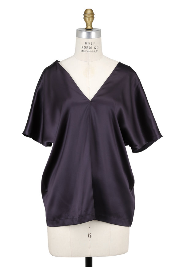 Brunello Cucinelli Volcano Satin Silk Deep V-Neck Monili Strap Blouse