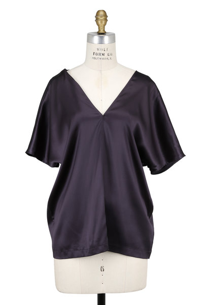 Brunello Cucinelli - Volcano Satin Silk Deep V-Neck Monili Strap Blouse